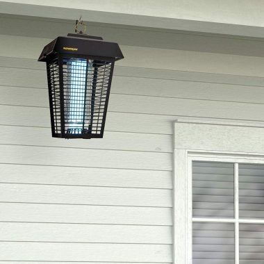 one of the best mosquito traps hanging outside a house